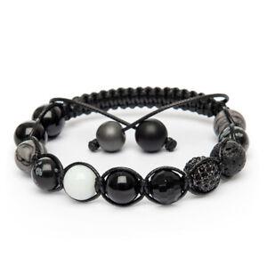 Shamballa Bracelet Snowflake Obsidian Agate Black Picasso Lava Alabaster UK Made