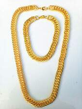 Lots Gold plated Cuban Chain Lobster clasp necklace bracelet Sets 43CM,9MM  L