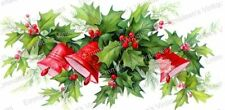 Vintage Image Shabby Victorian Christmas Holly And Bells Waterslide Decal CHR251