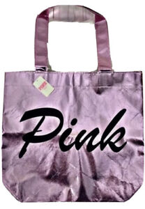 Victoria's Secret VS PINK Logo Metallic Reusable Small Lunch Tote Bag NWT