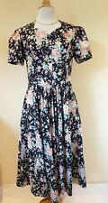 Laura Ashley Vintage Navy Floral Cotton Tea Dress Size 16