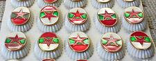 COLD WAR - BULGARIAN ARMY 5 pcs COCKADE RED STAR CAP BERET ENAMEL PIN BADGE