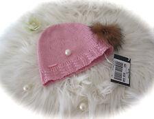 °River Woods° Strickmütze Beanie mit Echtfellbommel rosa Sz 2 50 cm 92 98 NEU