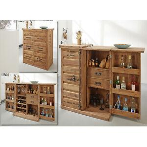 Barschrank Weinregal Weinschrank Container Bar Sheesham massiv natur Wolf Möbel