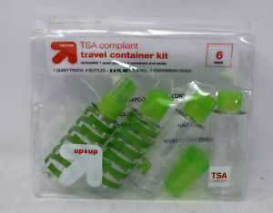 Up & Up TSA Compliant Travel Container Kit Green 6 Pieces