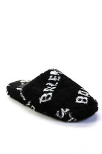 Balenciaga Womens Logo Print Slide On Slippers Black White Size 40 10