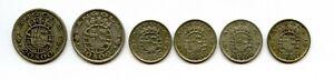 Angola 10, 20 Escudos 1952, 1955   6 Silbermünzen    # 048