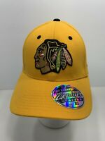 Chicago Blackhawks NHL Authentic Zephyr Stretch Fit Fitted Cap XL Yellow, NEW!