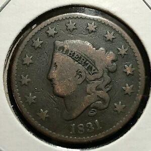 1831 LARGE CENT CORONET HEAD MID GRADE COIN