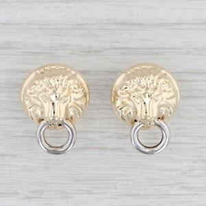Lion Door Knocker Earrings 14k Yellow White Gold Pierced Omega Backs
