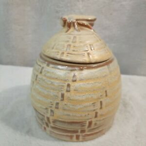 Vintage Frankoma Honey Pot Hive With Bee #803 clay pottery brown satin beehive