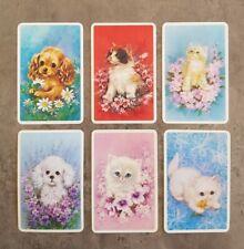 Vintage Swap Cards, Original 70's, Cute Kittens & Puppies, Set Of 6, Blank Backs