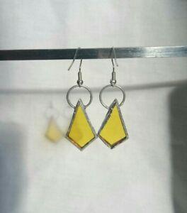 Hand Made Stained Glass Earrings Yellow Geometric Hand Made Diamond Shape Bold