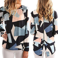 Women Casual Geometric Print Long Sleeve Zippered Back Top Blouse Loose T Shirt