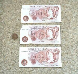 3 x Vintage Fforde British 10S Ten Shilling Banknotes A--N / B--N / C--N
