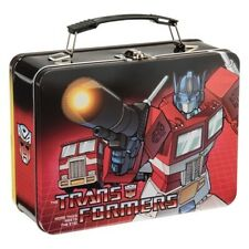 Transformers Optimus Prime and Bumblebee Animation Art Large Tin Tote Lunchbox