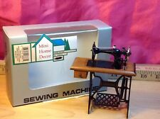 Vintage miniature 1:12 dollhouse sewing machine with working treadle