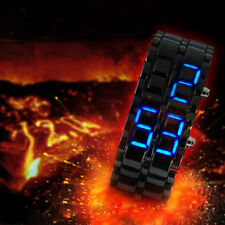 Mens Samurai Lava Blue LED Digital Bracelet Watch Fashion Dress Army Military