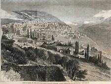 Mount Lebanon. Deir-El-Kamir. Druses. Wood Engraving, 1860.