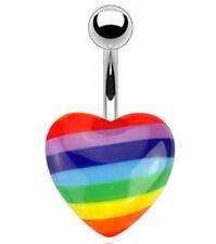 Navel Belly Ring 14 Ga 3/8 Gay Pride Rainbow Lgbt Flag Heart