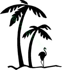Palm Trees and Flamingo vinyl decal/sticker paradise window tropical beach palms