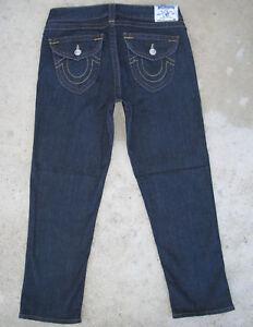 True Religion Capri Jeans Court Sz 30 Droit Jambe Bleu Foncé & Extensible