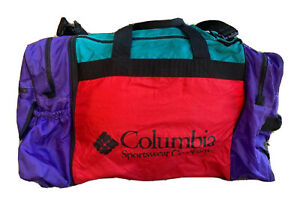 Columbia Sportswear Vintage Red Green Purple Duffel W/ Removable Backpack Bag