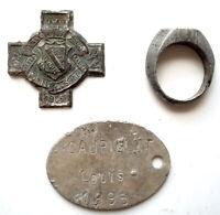 WW1 - 1914 - COLLECTOR LOT OBJETS du POILU BAGUE PLAQUE MEDAILLE à nettoyer