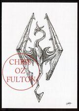 Skyrim Dragon Symbol Logo Art Original Pen And Ink Artwork By Chris Oz Fulton
