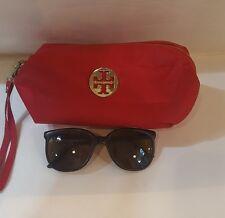 Womens VUARNET Black Brown Cat eye Sunglasses w/ Red TORY BURCH Makeup Bag