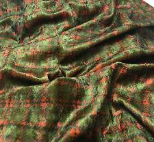 Olive & Orange PLAID PANNE VELVET Fabric - 1/4 yd remnant