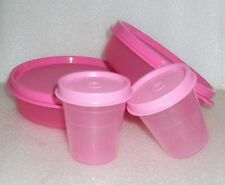 Set of 4 New Tupperware Lunch Box Snack Set Bowls Little Wonders Midgets Pink