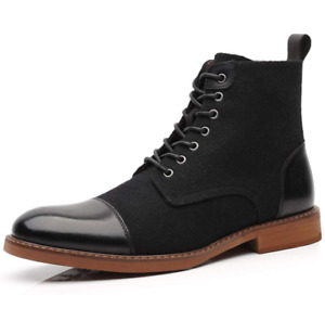 Mens Retro Round Toe Lace Up Ankle Boots Casual Non-Slip Motorcycle Party Shoes