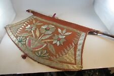 estate Antique Vintage Asian silver thread hand Embroidered Hand Fan