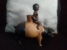 Black Child Riding Black & White Pig Vintage Cast Iron Coin Bank
