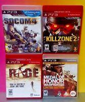 Killzone 2 Medal of Honor Warfighter Socom 4 Rage  PS3 Sony Playstation 3 GAME
