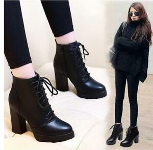 Women's Round Toe Lace Up Chunky Heel Platform Combat Boots Ankle Boots