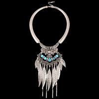 Retro Gypsy Turquoise Jewelry Boho Silver Willow Leaf Pendant Bib Chain Necklace