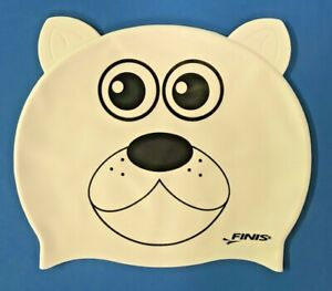 White POLAR BEAR Learn to Swim Cap Finis Animal Heads Silicone Kids Swimming NEW