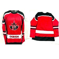 Canada Athletics Long Sleeve Red and Black Hockey Jersey Size XL