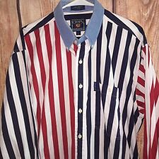 EUC MEN VTG CHAPS POLO RALPH LAUREN RED WHITE BLUE PATRIOTIC L/S SHIRT L HIPSTER