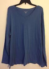 Laura Scott Plus Size 20 / 22W V- Neck Long Sleeve T Shirt Cotton Top BLOUSE NEW
