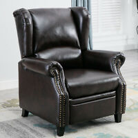 Contemporary Leather Recliner Chair Accent Push Back Padded Seat Single Sofa New