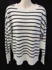 Cynthia Rowley 100% Cashmere Cream Striped Fishtail Sweater M New