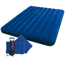 Queen Size Intex Inflatable Airbed Air Mattress Blow Up Bed Hand Pump 2 Pillows