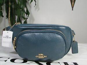 NWT Coach Pebble Leather Court Belt Bag 6488 Peacock