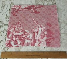 "Antique Rare French Personage Historical Toile Fabric~L-9.5"" X W-10"""