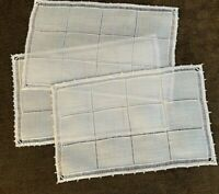 6 Vintage Cocktail Napkins White Linen Drawnwork with Picot Edge