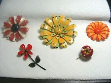 Vtg. 5 Multi Flower Brooches