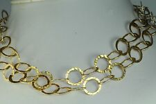 24K GOLD OVER STERLING SILVER HAMMERED CIRCLES NECKLACE 36 INCH